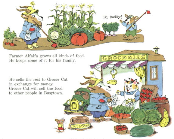 Farmer Alfalfa grows all kinds of food.  He keeps some of it for his family.  He sells the rest to Grocer Cat...